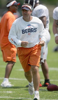 BOURBONNAIS, IL - JULY 30: New Defensive Coordinator Bob Babich of the Chicago Bears looks on during a summer training camp practice on July 30, 2007 at Olivet Nazarene University in Bourbonnais, Illinois. (Photo by Jonathan Daniel/Getty Images)