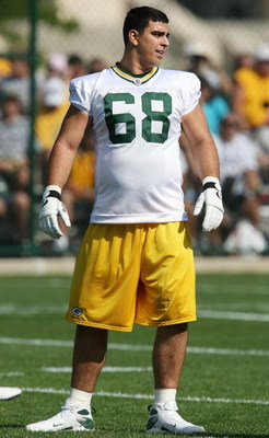 GREEN BAY, WI - JULY 28: Breno Giacomini #68 of the Green Bay Packers prepares to work out during summer training camp on July 28, 2008 at the Hutson Center in Green Bay, Wisconsin. (Photo by Jonathan Daniel/Getty Images)