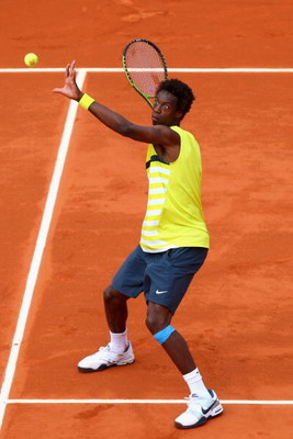 PARIS - MAY 26:  Gael Monfils of France eyes the ball during his Men's Singles First Round match against Bobby Reynolds of USA on day three of the French Open at Roland Garros on May 26, 2009 in Paris, France.  (Photo by Ryan Pierse/Getty Images)