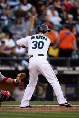SEATTLE - MAY 21:  Russell Branyan #30 of the Seattle Mariners bats against the Los Angeles Angels of Anaheim during the game on May 21, 2009 in Seattle, Washington. (Photo by Otto Greule Jr/Getty Images) 