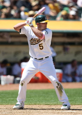OAKLAND, CA - MAY 10:  Matt Holliday #5 of the Oakland Athletics bats against the Toronto Blue Jays during a Major League Baseball game on May 10, 2009 at the Oakland Coliseum in Oakland, California.  (Photo by Jed Jacobsohn/Getty Images)