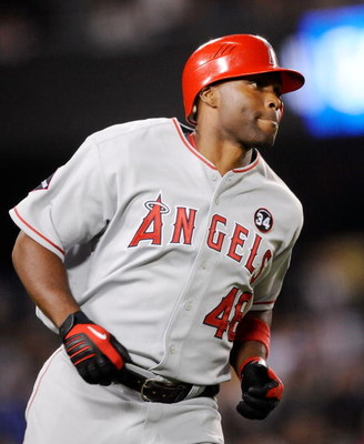 LOS ANGELES, CA - MAY 23:  Torii Hunter #48 of the Los Angeles Angels of Anaheim runs the bases after hitting a three-run home run off pitcher Randy Wolf of the Los Angeles Dodgers during the fifth inning of the baseball game at Dodger Stadium on May 23, 