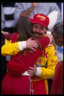 17 Feb 1991:  Ernie Irvan celebrates after winning the NASCAR Daytona 500 at Daytona International Speedway in Daytona Beach, Florida. Mandatory Credit: Jim Gund  /Allsport