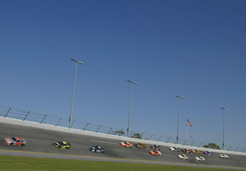 17 Feb 2002:  Sterling Marlin leads the pack through Turn 4 during the 44th NASCAR Winston Cup Series Daytona 500 at the Daytona International Speedway, Daytona, Florida. DIGITAL IMAGE Mandatory Credit: Darrell Ingham/Getty Images
