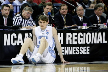 MEMPHIS, TN - MARCH 29:  Tyler Zeller #44 of the North Carolina Tar Heels waits to enter the game against the Oklahoma Sooners during the NCAA Men's Basketball Tournament South Regional Final at the FedExForum on March 29, 2009 in Memphis, Tennessee.  (Ph