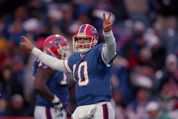 7 Oct 2001:  Alex Van Pelt #10 of the Buffalo Bills celebrates during the game against the New York Jets at the Ralph Wilson Stadium in Orchard Park, New York. The Jets defeated the Bills 42-36.Mandatory Credit: Rick Stewart  /Allsport