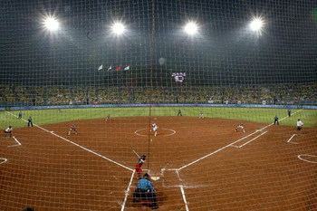 BEIJING - AUGUST 21:  A general view of action during the women's gold medal game between the United States and Japan at the Fengtai Softball Field during Day 13 of the Beijing 2008 Olympic Games on August 21, 2008 in Beijing, China.  (Photo by Jonathan F