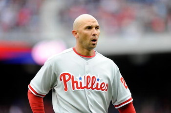 WASHINGTON - APRIL 13:  Raul Ibanez #29 of the Philadelphia Phillies walks to the dugout during the game against the Washington Nationals at Nationals Park on April 13, 2009 in Washington, DC.  (Photo by Greg Fiume/Getty Images)
