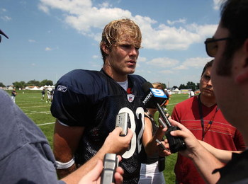 BOURBONNAIS, IL - JULY 30: Greg Olsen #82 of the Chicago Bears, the Bears' first round draft pick, talks to reporters after a summer training camp practice on July 30, 2007 at Olivet Nazarene University in Bourbonnais, Illinois. (Photo by Jonathan Daniel/