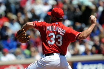 ARLINGTON, TX - APRIL 6:  Pitcher Kevin Millwood #33 of the Texas Rangers throws against the Cleveland Indians during the home opener at Rangers Ballpark April 6, 2009 in Arlington, Texas.  (Photo by Ronald Martinez/Getty Images)
