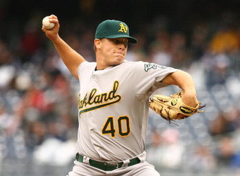 NEW YORK - APRIL 22:  Andrew Bailey #40  of The Oakland Athletics in action against The New York Yankees during their game on April 22, 2009 at Yankee Stadium in the Bronx Borough of New York.  (Photo by Al Bello/Getty Images)