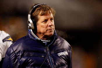 PITTSBURGH - JANUARY 11:  Head coach Norv Turner of the San Diego Chargers coaches against the Pittsburgh Steelers during their AFC Divisional Playoff Game on January 11, 2009 at Heinz Field in Pittsburgh, Pennsylvania. The Steelers won 35-24.  (Photo by