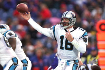 09 December 2001: Chris Weinke # 16 of the Carolina Panthers throws a pass against the Buffalo Bills  during their game at Ralph Wilson Stadium in Orchard Park, New York. Buffalo won 25-24.  DIGITAL IMAGE. Mandatory Credit: Rick Stewart/Allsport