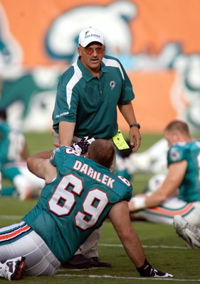 MIAMI - AUGUST 09:  Head Coach Tony Sparano of the Miami Dolphinsprior to a pre season game against the Tampa Bay Buccaneers on August 9, 2008 at Dolphin Stadium in Miami, Florida.  Tampa defeated Miami 17-6. (Photo by Marc Serota/Getty Images)