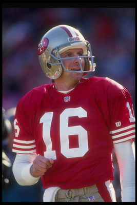 19 Dec 1992:  Quarterback Joe Montana of the San Francisco 49ers looks on during a game against the Tampa Bay Buccaneers at Candlestick Park in San Francisco, California. Mandatory Credit: Otto Greule Jr.  /Allsport