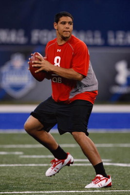 INDIANAPOLIS, IN - FEBRUARY 22:  Quarterback Nate Davis of Ball State drops back to pass the football during the NFL Scouting Combine presented by Under Armour at Lucas Oil Stadium on February 22, 2009 in Indianapolis, Indiana. (Photo by Scott Boehm/Getty
