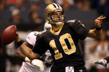 NEW ORLEANS - AUGUST 30:  Quarterback Jamie Martin #10 of the New Orleans Saints looks to complete a pass against the Miami Dolphins on August 30, 2007 at the Superdome in New Orleans, Louisiana. The Saints defeated the Dolphins 7-0.  (Photo by Chris Gray