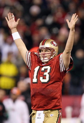 SAN FRANCISCO - DECEMBER 15: Shaun Hill #13 of the San Francisco 49ers celebrates near the end of the fourth quarter against the Cincinnati Bengals during an NFL game on December 15, 2007 at Monster Park in San Francisco, California. (Photo by Jed Jacobso