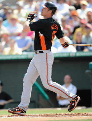 JUPITER, FL - FEBRUARY 27: Matt Wieters #15 of the Baltimore Orioles bats against the Florida Marlins during a spring training game at Roger Dean Stadium on February 27, 2009 in Jupiter, Florida. (Photo by Rob Tringali/Getty Images)