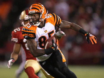SAN FRANCISCO - DECEMBER 15:  Chad Johnson #85 of the Cincinnati Bengals catches a pass against the San Francisco 49ers during an NFL game on December 15, 2007 at Monster Park in San Francisco, California.  (Photo by Jed Jacobsohn/Getty Images)
