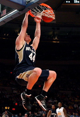 NEW YORK - MARCH 11:  Luke Harangody #44 of the Notre Dame Fighting Irish dunks the ball against the West Virginia Mountaineers during the second round of the Big East Tournament at Madison Square Garden on March 11, 2009 in New York City.  (Photo by Jim
