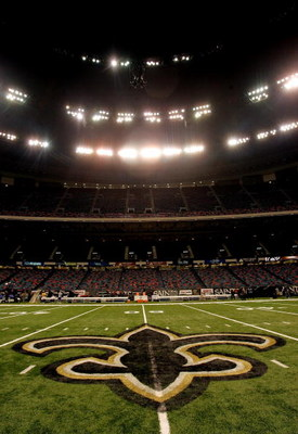 NEW ORLEANS - SEPTEMBER 25:  An interior view of the field showing the New Orleans Saints logo, a fleur-de-lis, in the newly refurbished Superdome prior to the Monday Night Football game between the Atlanta Falcons and the New Orleans Saints on September