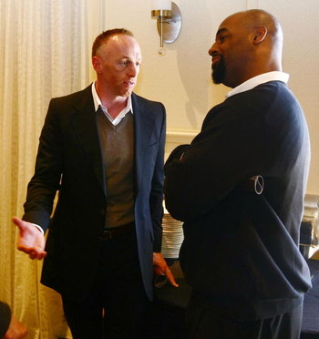 TAMPA, FL - JANUARY 31:  Jeff Garcia (L) talks with Donovan McNabb at the launch of the Isaac Daniel, ID Coach at the Sheraton Riverwalk on January 31, 2009 in Tampa, Florida. The ID Coach system allows coaches to communicate plays to players without usin