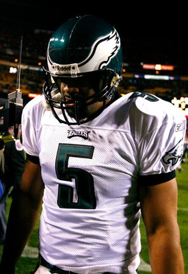 LANDOVER, MD - DECEMBER 21:  Quarterback Donovan McNabb #5 of the Philadelphia Eagles walks off the field after falling 10-3 to the Washington Redskins on December 21, 2008 at FedEx Field in Landover, Maryland.  (Photo by Kevin C. Cox/Getty Images)