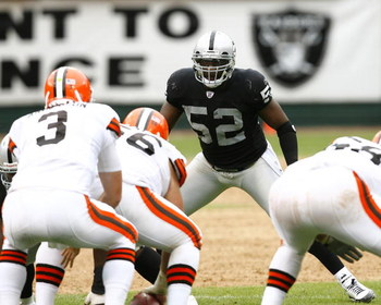 OAKLAND, CA - SEPTEMBER 23:  Linebacker Kirk Morrison #52 of the Oakland Raiders  eyes  Cleveland Browns quarterback Derek Anderson #3 during a 26-24 win at McAfee Coliseum on September 23, 2007 in Oakland, California.  (Photo by Kevin Terrell/Getty Image