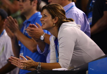 MELBOURNE, AUSTRALIA - JANUARY 29:  Roger Federer's girlfriend Mirka Vavrinec watches his semifinal match against Andy Roddick of the United States of America during day eleven of the 2009 Australian Open at Melbourne Park on January 29, 2009 in Melbourne