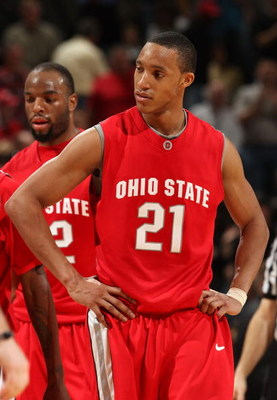 INDIANAPOLIS - MARCH 15:  Evan Turner #21 of the Ohio State Buckeyes looks on dejected against the Purdue Boilermakers during the final of the Big Ten Men's Basketball Tournament at Conseco Fieldhouse on March 15, 2009 in Indianapolis, Indiana.  (Photo by