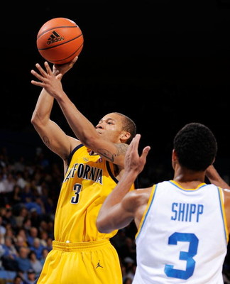 WESTWOOD, CA - JANUARY 29: Jerome Randle #3 of the University of California Golden Bears scores against Josh Shipp #3 of the UCLA Bruins during the first half of the game at Pauley Pavilion on January 29, 2009 in Westwood, California. UCLA won, 81-66.  (P
