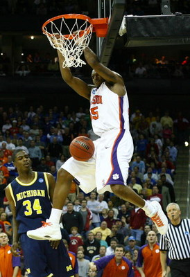 KANSAS CITY, MO - MARCH 19:  Trevor Booker #35 of the Clemson Tigers dunks the ball in the second half as DeShawn Sims #34 of the Michigan Wolverines looks on in the second half during the first round of the NCAA Division I Men's Basketball Tournament at