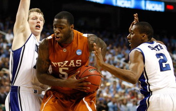 GREENSBORO, NC - MARCH 21:  Damion James #5 of the Texas Longhorns drives between Kyle Singler #12 and Nolan Smith #2 of the Duke Blue Devils during the second round of the NCAA Division I Men's Basketball Tournament at the Greensboro Coliseum on March 21