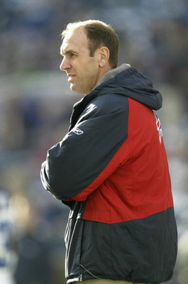 SEATTLE - NOVEMBER 28:  Head coach Mike Mularkey of the Buffalo Bills stands on the sideline during the game against the Seattle Seahawks at Qwest Field on November 28, 2004 in Seattle, Washington. The Bills defeated the Seahawks 38-9. (Photo by Otto Greu