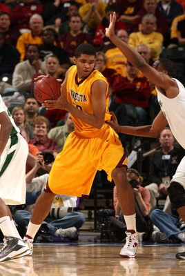 INDIANAPOLIS - MARCH 13:  Ralph Sampson III #50 of the Minnesota Golden Gophers controls the ball in the post against the Michigan State Spartans during the second round of the Big Ten Men's Basketball Tournament at Conseco Fieldhouse on March 13, 2009 in