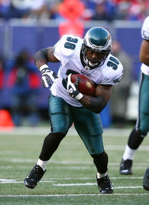 EAST RUTHERFORD, NJ - JANUARY 11:  Brian Westbrook #36 of the Philadelphia Eagles runs with the ball during the NFC Divisional Playoff Game against the New York Giants on January 11, 2009 at Giants Stadium in East Rutherford, New Jersey.  The Eagles defea