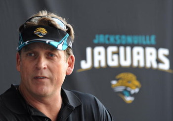 JACKSONVILLE, FL - MAY 1:  Coach Jack Del Rio of the Jacksonville Jaguars talks to the media May 1, 2009 at a team minicamp near Jacksonville Municipal Stadium in Jacksonville, Florida.  (Photo by Al Messerschmidt/Getty Images)