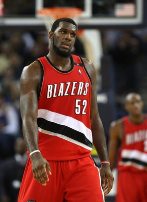 OAKLAND, CA - NOVEMBER 18:  Greg Oden #52 of the Portland Trail Blazers looks on in the fourth quarter against the Golden State Warriors during an NBA game on November 18, 2008 at Oracle Arena in Oakland, California. NOTE TO USER: User expressly acknowled