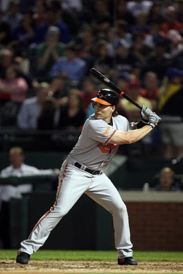 ARLINGTON, TX - APRIL 15:  Luke Scott of the Baltimore Orioles at bat while wearing jersey #42 to commemorate Jackie Robinson day during a game against the Texas Rangers on April 15, 2009 at Rangers Ballpark in Arlington, Texas.  (Photo by Ronald Martinez