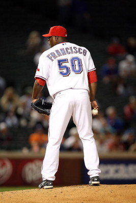 ARLINGTON, TX - APRIL 13:  Pitcher Frank Francisco #50 of the Texas Rangers on April 13, 2009 at Rangers Ballpark in Arlington, Texas.  (Photo by Ronald Martinez/Getty Images)