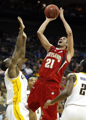 KANSAS CITY, MO - MARCH 19:  Greivis Vasquez #21 of the Maryland Terrapins shoots the short jump shot against Patrick Christopher #23 of the California Golden Bears in the second half during the first round of the NCAA Division I Men's Basketball Tourname