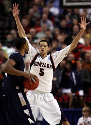 PORTLAND, OR - MARCH 19:  Austin Daye #5 of the Gonzaga Bulldogs plays defense against the Akron Zips in the second half during the first round of the NCAA Division I Men's Basketball Tournament at the Rose Garden on March 19, 2009 in Portland, Oregon. Th