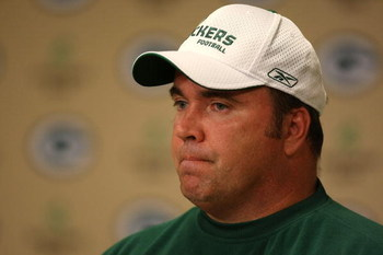 GREEN BAY, WI - AUGUST 5: Head coach Mike McCarthy of the Green Bay Packers speaks during a press conference at Lambeau Field August 5, 2008 in Green Bay, Wisconsin. McCarthy spoke to the press after Brett Favre, who was reinstated after retiring from the