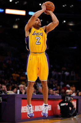 LOS ANGELES, CA - MAY 27:  Derek Fisher #2 of the Los Angeles Lakers shoots a jumper against the Denver Nuggets in Game Five of the Western Conference Finals during the 2009 NBA Playoffs at Staples Center on May 27, 2009 in Los Angeles, California. NOTE T