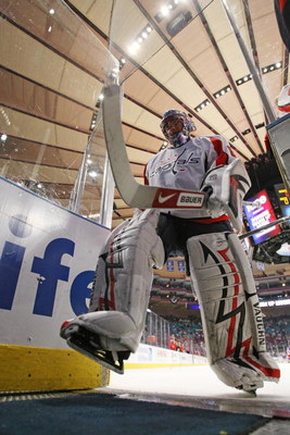 NEW YORK - APRIL 26: Jose Theodore #60 of the Washington Capitals leaves the ice after warmups and prior to his game against the New York Rangers in Game Six of the Eastern Conference Quarterfinal Round of the 2009 NHL Stanley Cup Playoffs at Madison Squa
