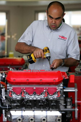 LAS VEGAS - FEBRUARY 28:  Toyota Racing engine specialists work on Toyota engines during practice for the NASCAR Sprint Cup Series Shelby 427 at the Las Vegas Motor Speedway on February 28, 2009 in Las Vegas, Nevada.  (Photo by Todd Warshaw/Getty Images)