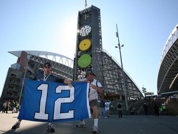 SEATTLE - SEPTEMBER 14:  Fans hold a banner outside the stadium prior to the home opener of the Seattle Seahawks against the San Francisco 49ers on September 14, 2008 at Qwest Field in Seattle Washington. (Photo by Otto Greule Jr/Getty Images)