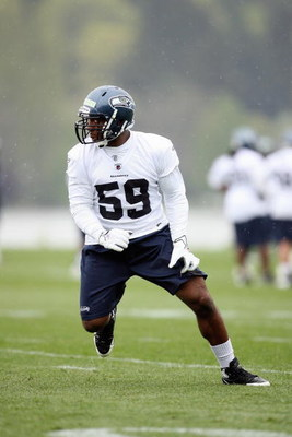 RENTON, WA - MAY 2:  Aaron Curry #59 of the Seattle Seahawks runs drills during minicamp at the Seahawks training facility on May 2, 2009 in Renton, Washington. (Photo by Otto Greule Jr/Getty Images) 