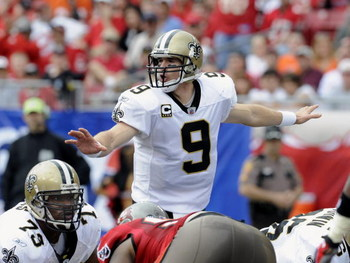TAMPA, FL - NOVEMBER 30: Quarterback Drew Brees #9 of the New Orleans Saints directs play against the Tampa Bay Buccaneers at Raymond James Stadium on November 30, 2008 in Tampa, Florida.  (Photo by Al Messerschmidt/Getty Images)